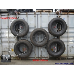 5 aircraft tires connected as boat or dock fender