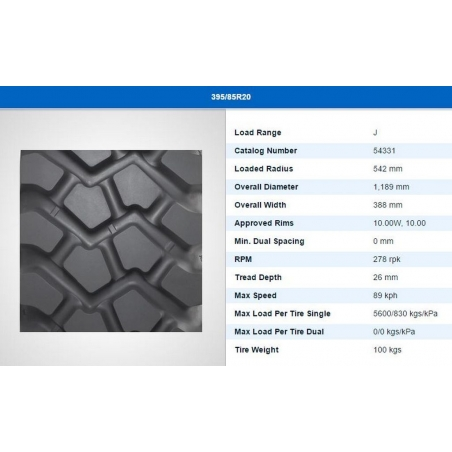 395/85R20 Michelin XZL specifications