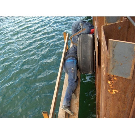 Dock or quay fenders from aircraft tires